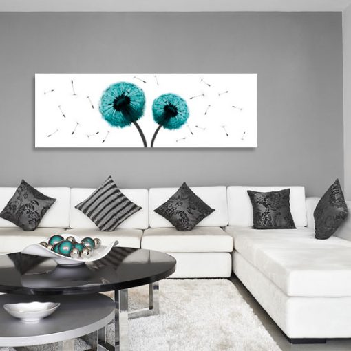 dekoracje ścian turkusowe dmuchawce
