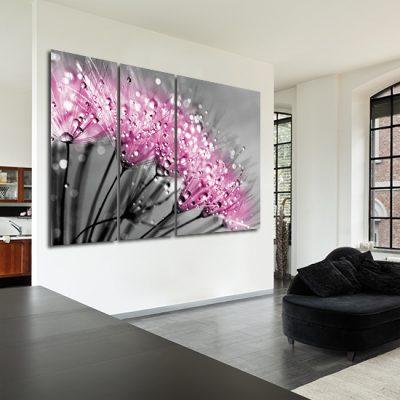 ozdoba na ścianę różowe dmuchawce
