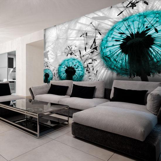 dekoracja na ścianę turkusowe dmuchawce