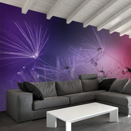 dekoracje ścian fioletowe dmuchawce