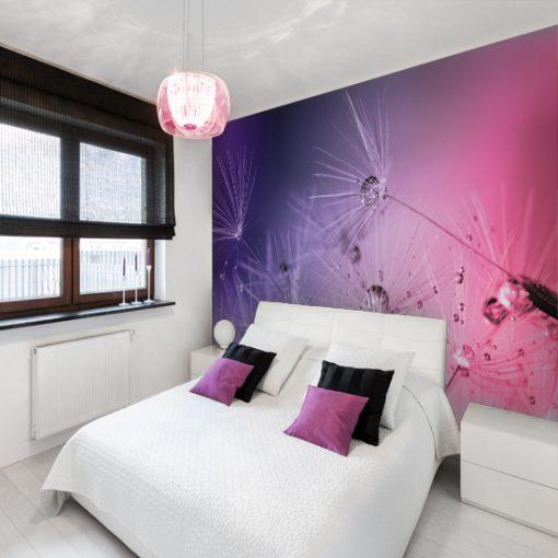 fioletowe ozdoby do sypialni