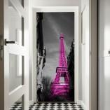 dekoracja drzwi różowa wieża Eiffla