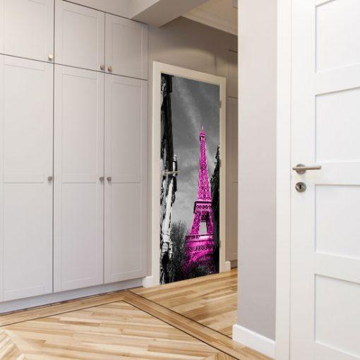 ozdoba na drzwi różowa wieża eiffla