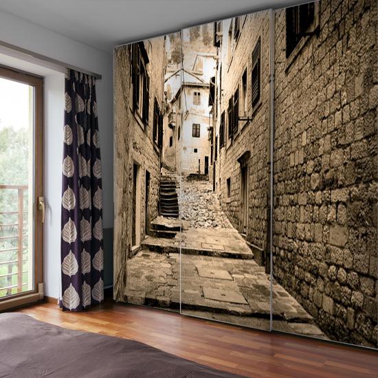 jaka fototapeta do salonu - dekoracja na szafę schody