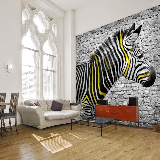 ozdoby ścian żółta zebra