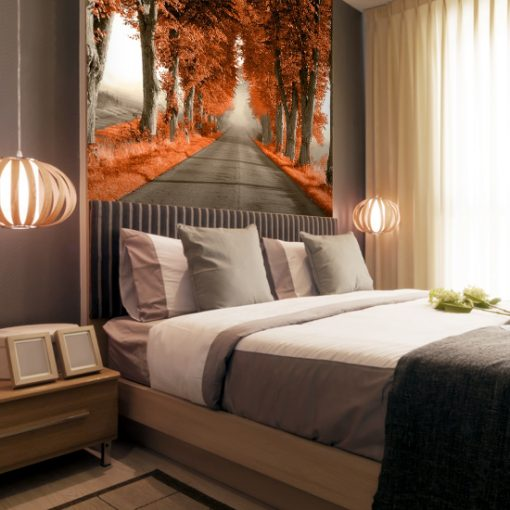 pomarańczowe ozdoby do sypialni