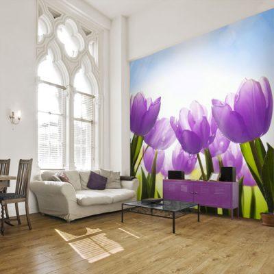 dekoracje ścian z tulipanami