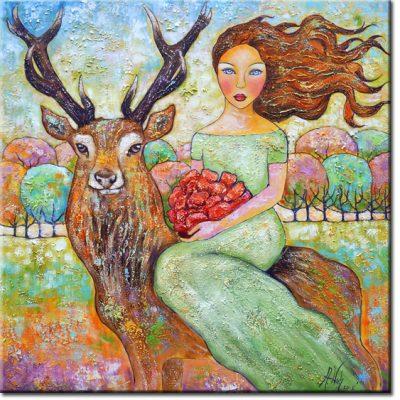 obraz z kobietą i jeleniem