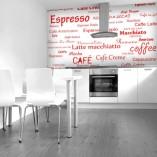 fototapeta rodzaje kawy napisy