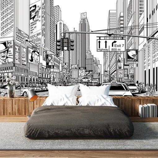 nowoczesna fototapeta z miastem do sypialni
