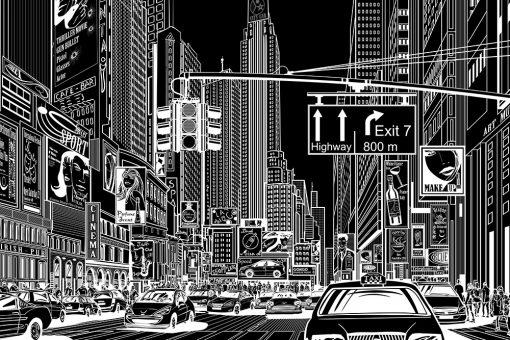 czarna fototapeta z komiksowym miastem