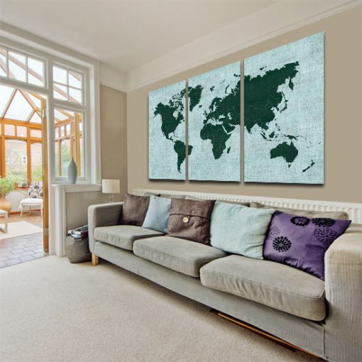 tryptyk z mapa świata