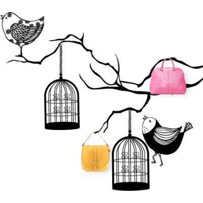 wieszak samoprzylepny ptaki