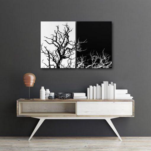 podwojny obraz z drzewami
