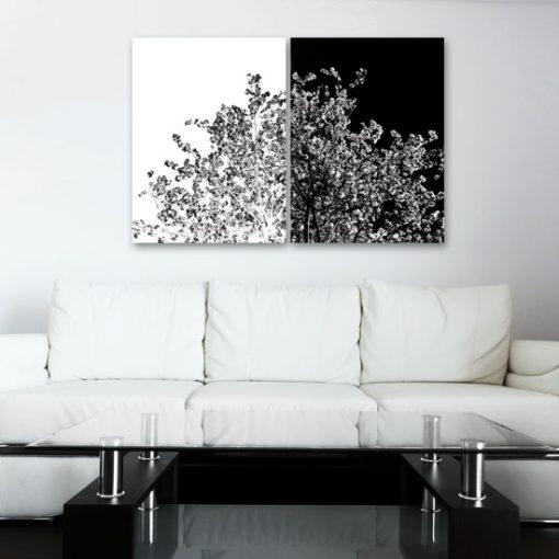 podwójny obraz z drzewem