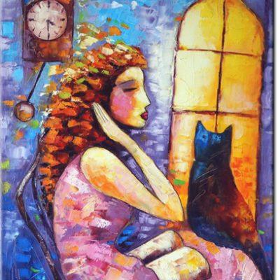 obraz jak malowany kobieta i kot