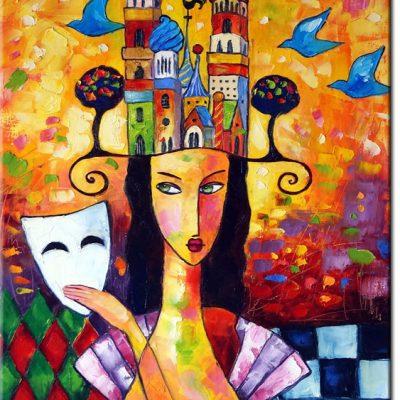 obraz kolorowe budynki i kobieta