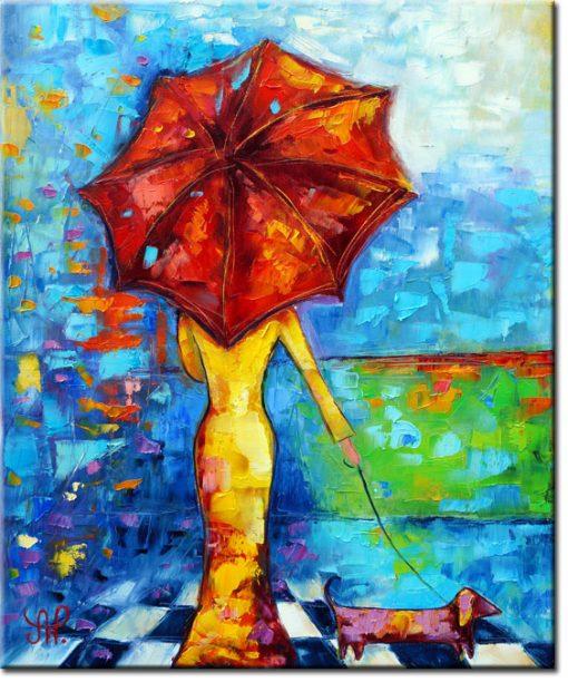 obraz czerwona parasolka