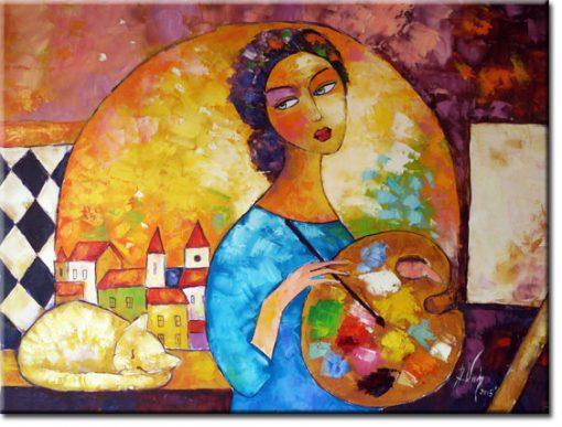 obraz malująca dziewczyna