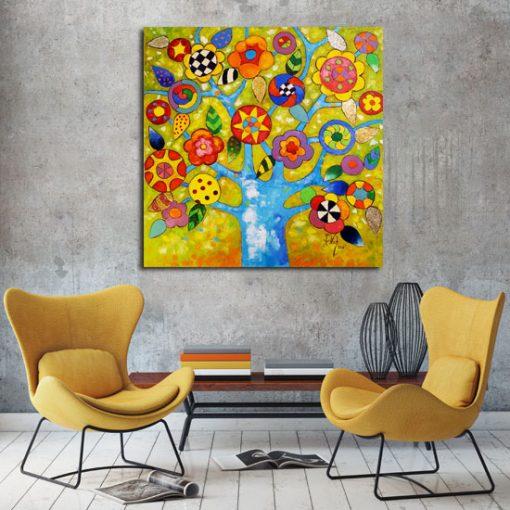 obraz kolorowe kwiaty na drzewie