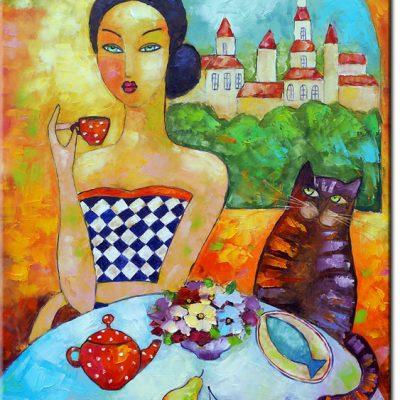 obraz piękna Paryżanka i kot