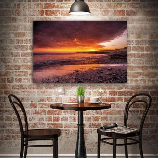 obrazy z plażą o zachodzie słońca