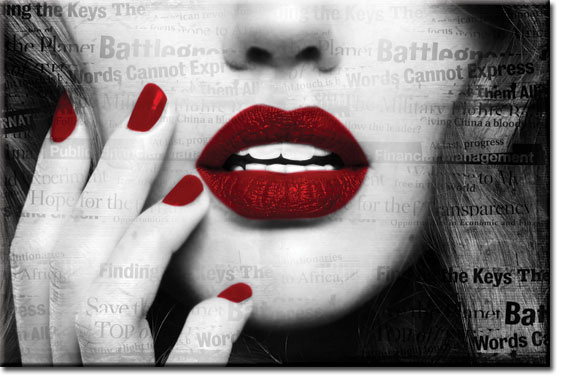 obrazy z czerwonymi ustami