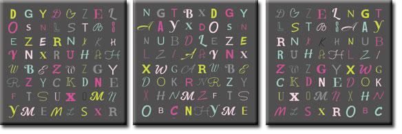 tryptyki z literami