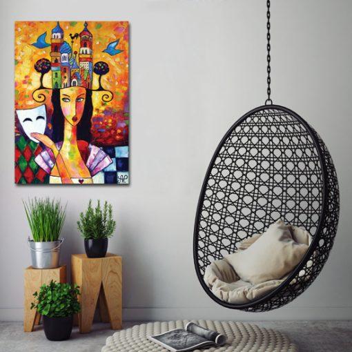 plakat piękna kobieta i ptaki