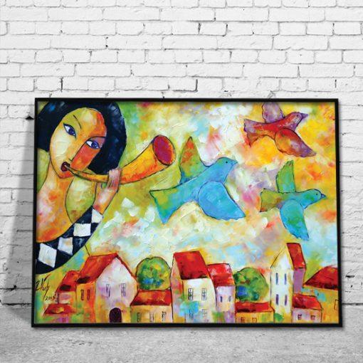 plakat z malarstwem kolorowe miasto