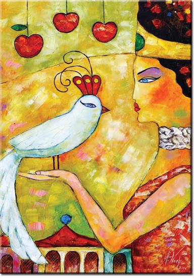 plakat z sułtanką i ptakiem