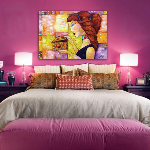 dekoracja do sypialni z reprodukcją malarstwa