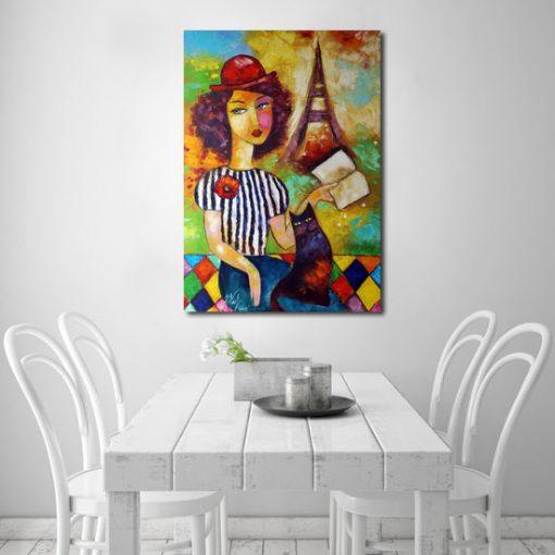 plakat jak malowany dziewczyna w kapeluszu