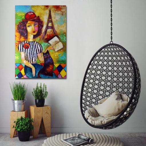 plakat z kobietą i kotem