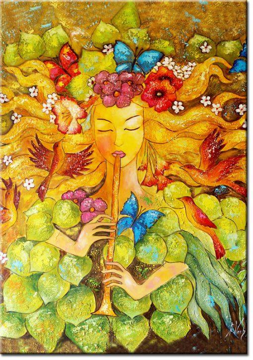 plakat jak malowany z dziewczyna i ptakami