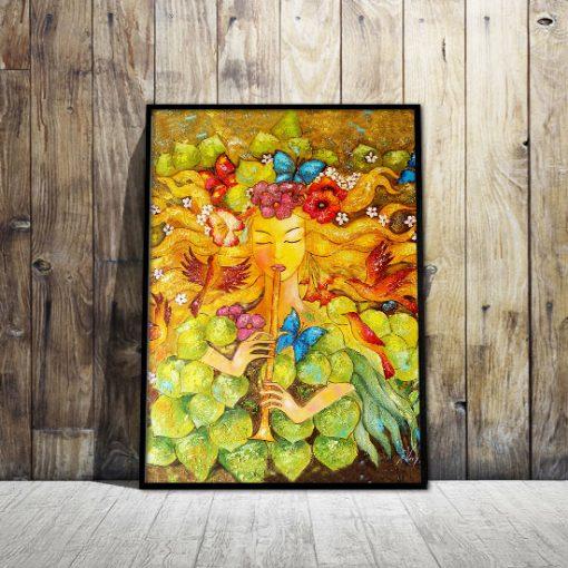 plakat z malarstwem - kobieta i motyle