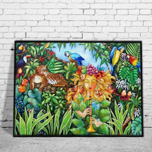plakat tropikalne rośliny i zwierzęta