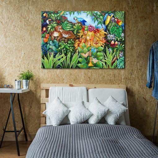 plakat z dżunglą i zwierzętami