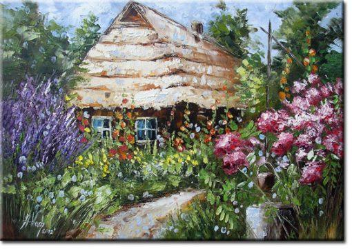 plakat chata i ogród
