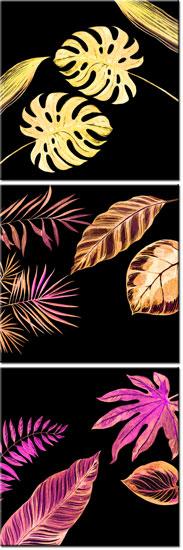 tryptyk z liśćmi