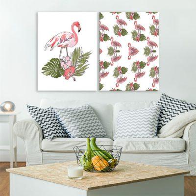 dyptyk z flamingami