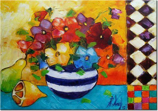 obraz bukiet kwiatów i cytryny