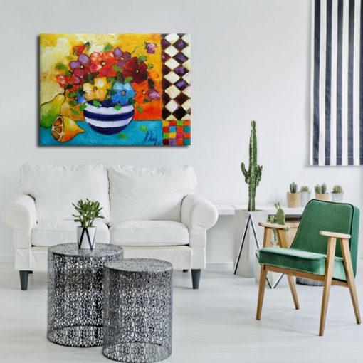 obraz cytryna i kwiaty