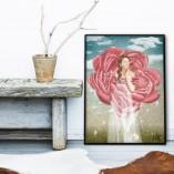 obraz z kobieta i kwiatem