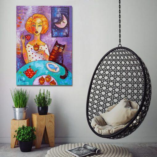 obraz dziewczyna kot i księżyc