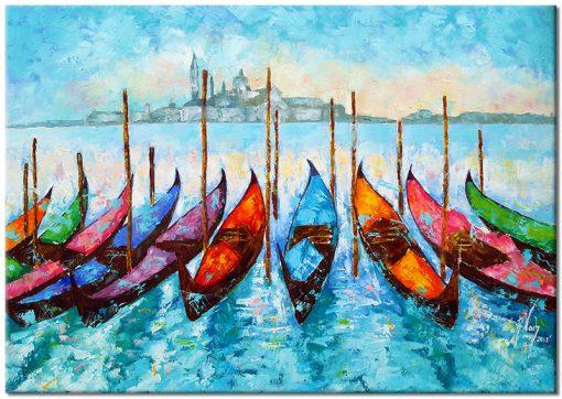 obraz przystań gondoli w Wenecji