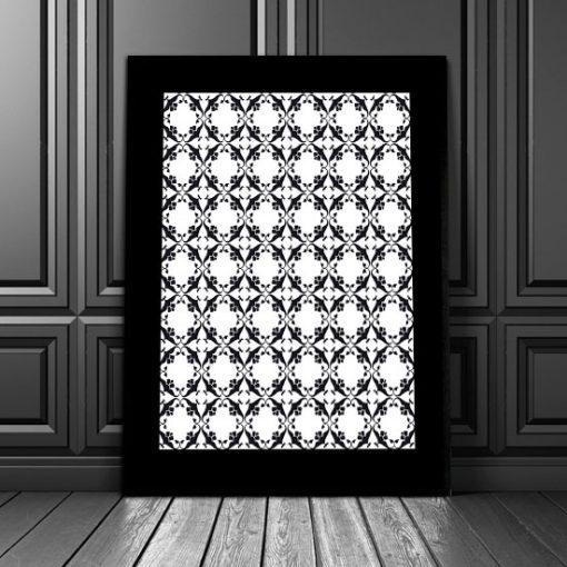 plakat z motywem wzorków czarno-białych