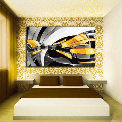 obrazek abstrakcyjny czarno-żółty