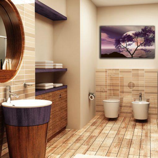 fioletowy obraz do łazienki