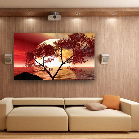 Obraz Z Czerwonym Motywem Drzewa I Oceanu Na Tle Białego Księżyca